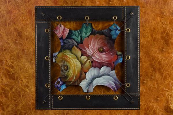 Часы из кожи Цветы Хохломы
