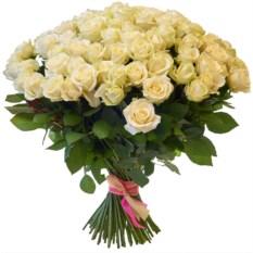 Букет из 101 белой розы высотой 40 см
