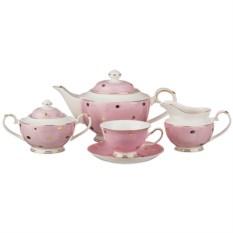 розовый чайный сервиз на 6 персон