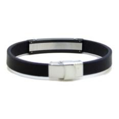 Кожаный браслет с чёрно-серебристой пластиной