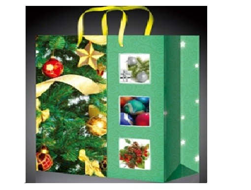 Зеленый новогодний пакет