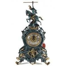 Часы из бронзы Всадник 42х25 см, цвет синий с золотом