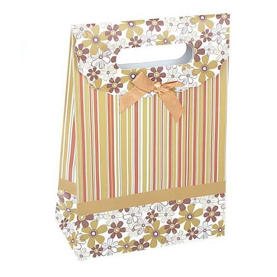 Пакет-коробочка «Цветы-полоски»