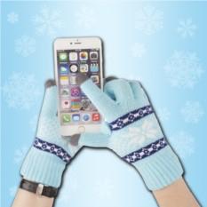 Голубые сенсорные перчатки