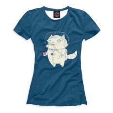 Женская футболка Кот и лисичка в космосе