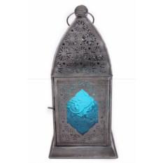 Подсвечник со стеклом голубого цвета Фонарь