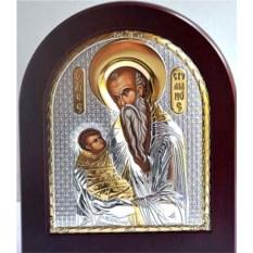 Серебряная икона Стилиан Пафлагонянин Святой Преподобный