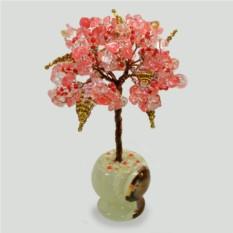 Миниатюрное дерево счастья из халцедона в вазочке из оникса