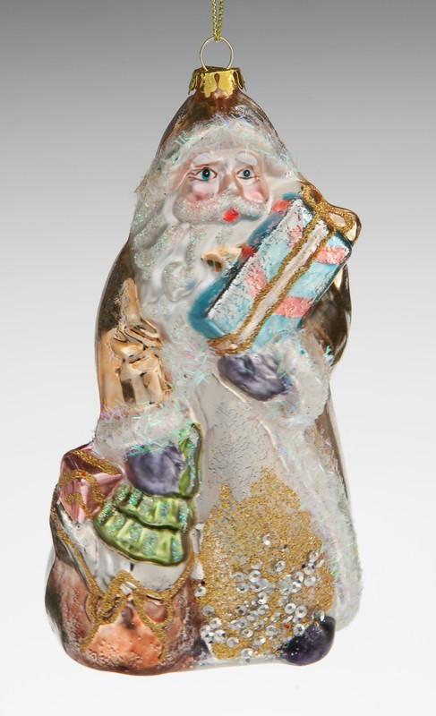 Ёлочная игрушка Дед мороз в золотой шубе с мешком