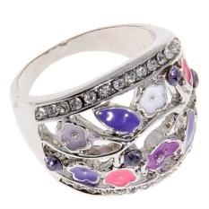 Кольцо с цветной эмалью Violet