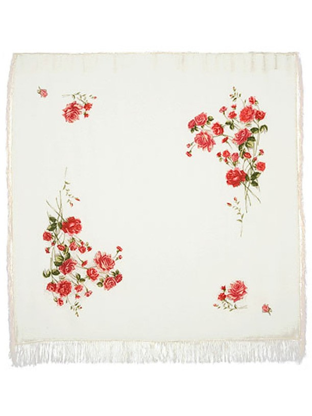 Павловопосадский шерстяной  платок Розы на снегу