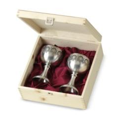 Набор бокалов для вина из олова в деревянном кейсе Residenz