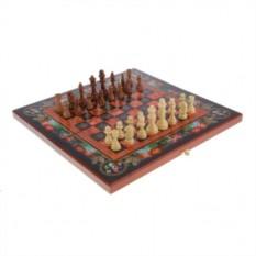 Подарочный набор игр Шахматы-нарды-шашки с доской Цветы