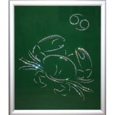 Картина с кристаллами Swarovski Рак на зеленом фоне