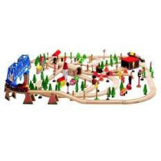 Набор Woody Деревянная железная дорога Супер, 170 элементов