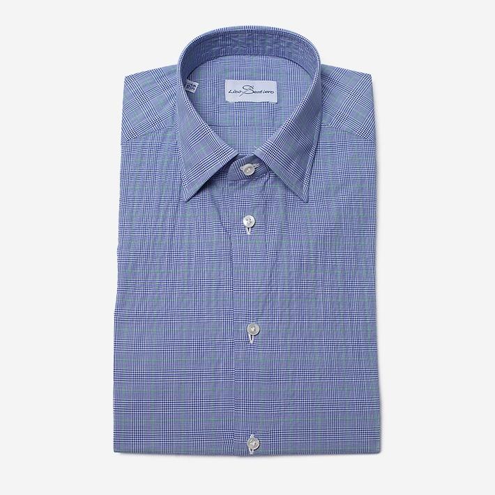 Рубашка в синюю и зелёную клетку