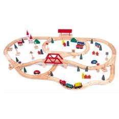 Набор Woody Деревянная железная дорога с мостом и вокзалом, 90 элементов