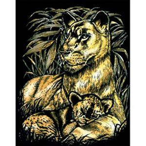 Гравюра золотая «Львы»